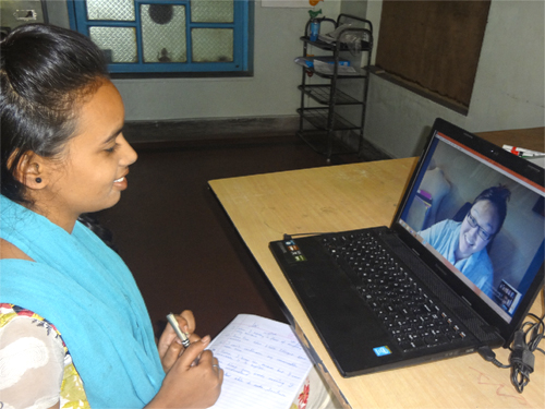 Uddami Skype virtual volunteer teaches English